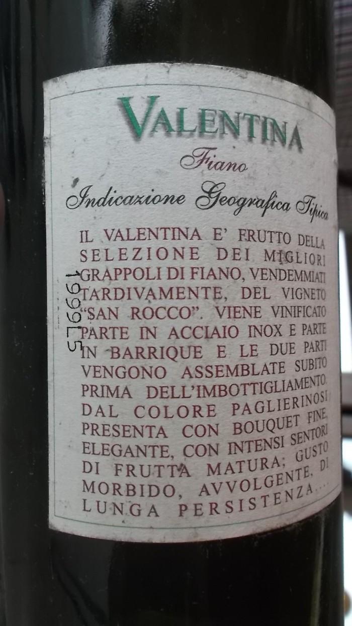 Azienda Alfonso Rotolo Controetichetta Fiano Valentina del 1999