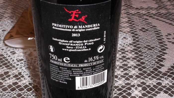 Controetichetta Es Primitivo di Manduria Doc 2013 Gianfranco Fino