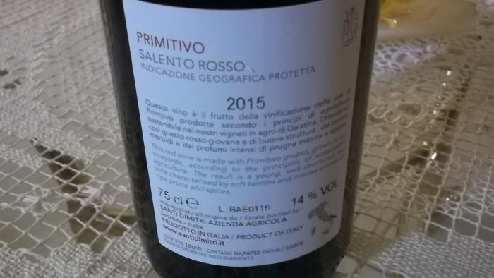 Controetichetta Primitivo Salento Rosso Igp 2015 Santi Dimitri