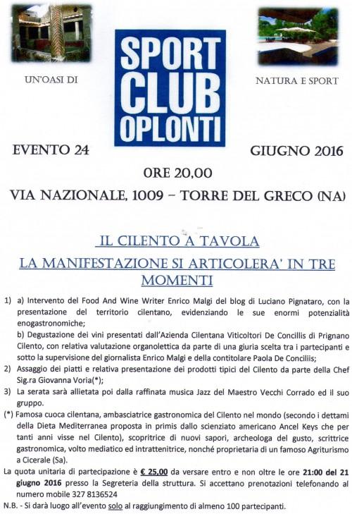 Il Cilento in Tavola allo Sport Club Oplonti di Torre del Greco