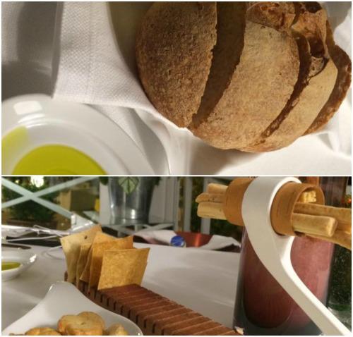 Indaco, pane, olio e grissini