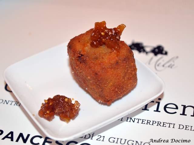 Piazzetta Milu Chef Experience con Sposito. Carne di maiale impanata con chutney di fichi