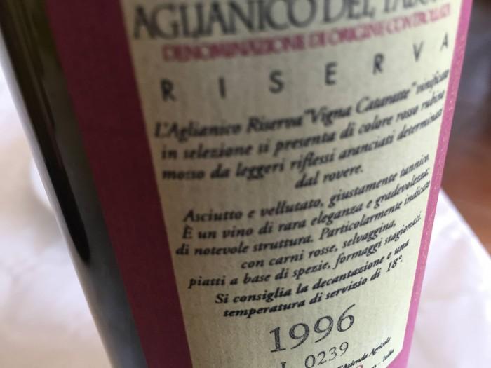 Aglianico Vigna Catarratte 1996