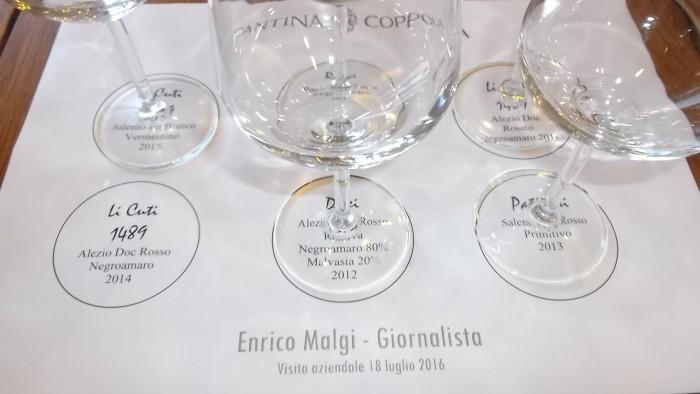Cantina Coppola Preparazione per i vini da degustare