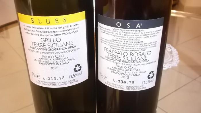 Controetichette Vini dell'azienda agricola Paolo Cali