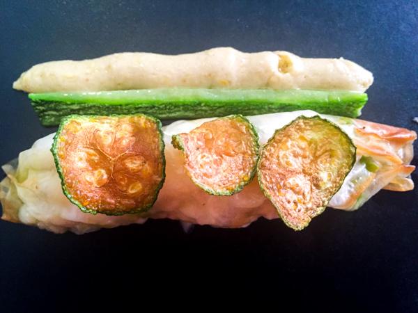 Don Alfonso dal 1890-Salsiccia di pezzogna, pistacchi, mozzarella e zucchine con salsa Candida