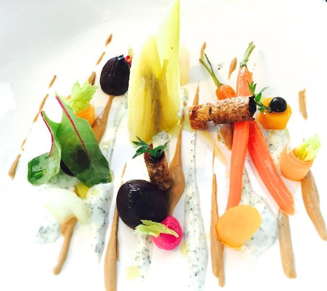 Ristorante Berton, Insalata di carote, barbabietola, sedano, yogurt all'aneto e crema di nocciole