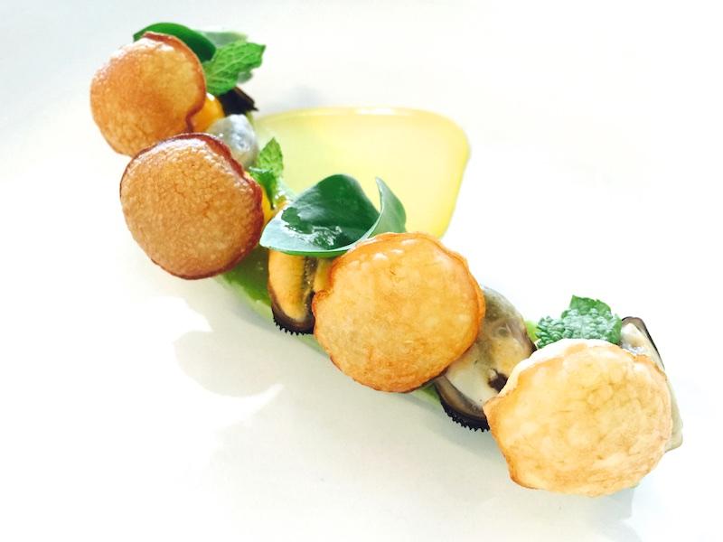 Ristorante Berton, Insalata di cozze con zucchine Liguri e zafferano