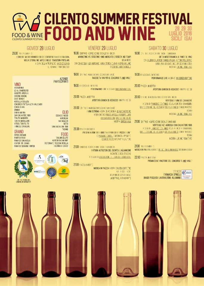 Cilento Summer Festival,  Food and Wine