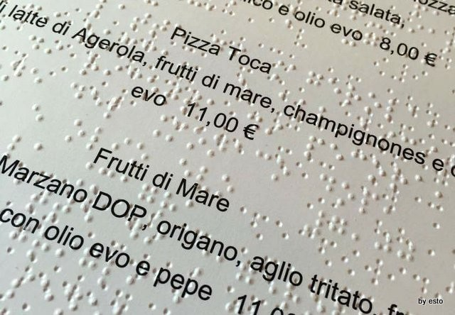 Pizzeria Franco il menu in Braille