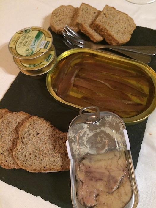 Ristorante Molinett, alici in olio e fegato di merluzzo