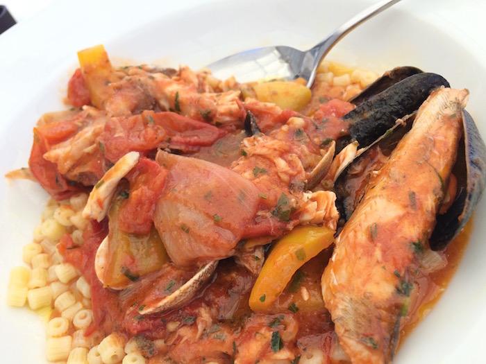 Ristorante Molinett, tubetto condito con la zuppa di pesce