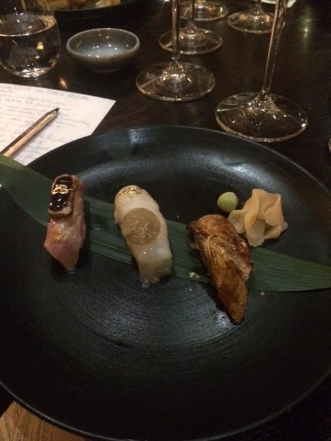 Sushi B, Nighiri di anguilla, Toro e fois gras, Scampo e tartufo
