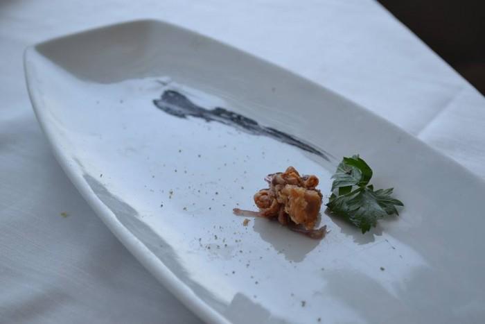 TORRE NORMANNA - Moscardino fritto su marmellata di cipolle rosse di Tropea
