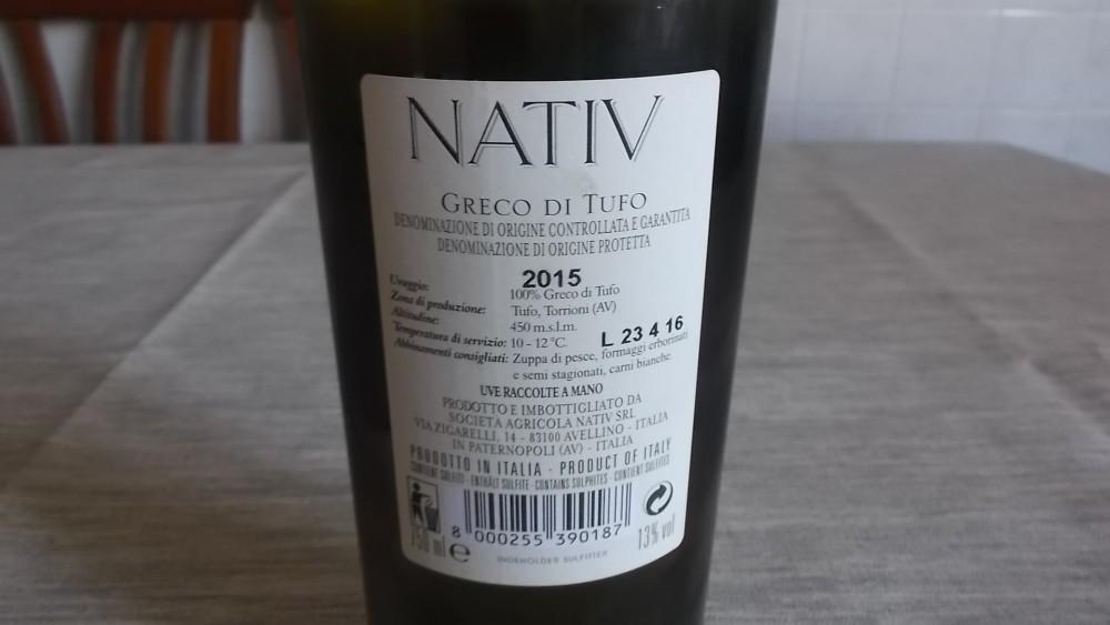 Controetichetta Greco di Tufo Docg 2015 Nativ