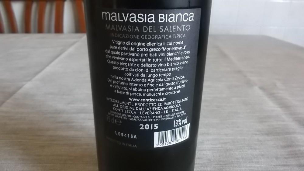 Controetichetta Malvasia Bianca del Salento Igt 2015 Conti Zecca