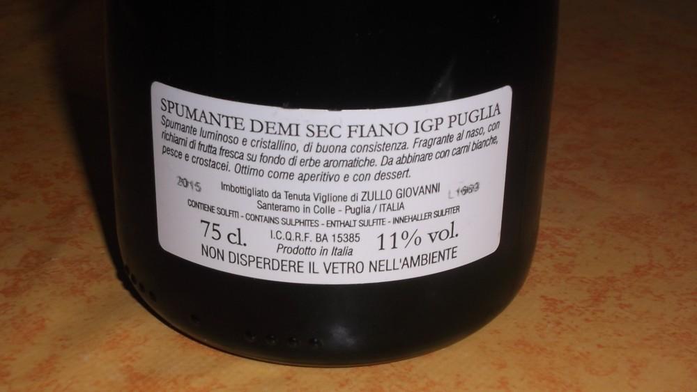 Controetichetta Noi Due Spumante Demi Sec Fiano  Puglia Igp