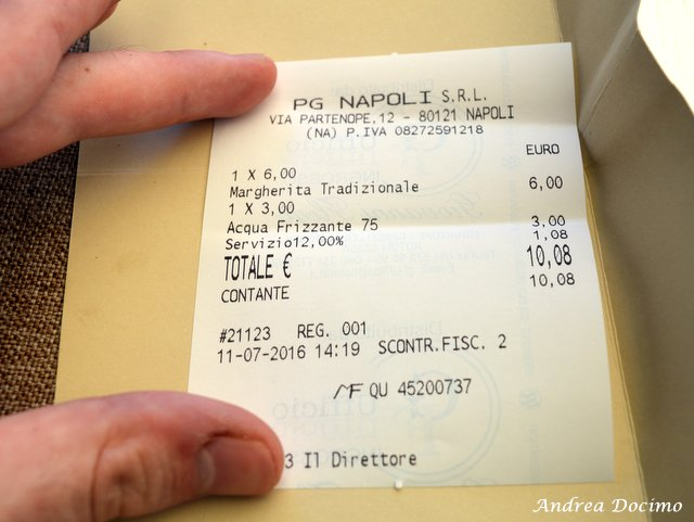 Pizzerie sul lungomare. Pizza Gourmet Giuseppe Vesi. Lo scontrino