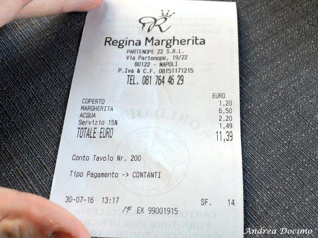 Pizzerie sul lungomare. Regina Margherita. Lo scontrino