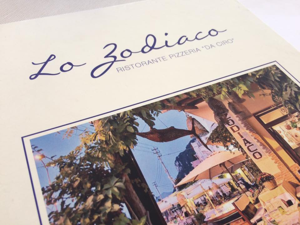 Lo Zodiaco, menu'