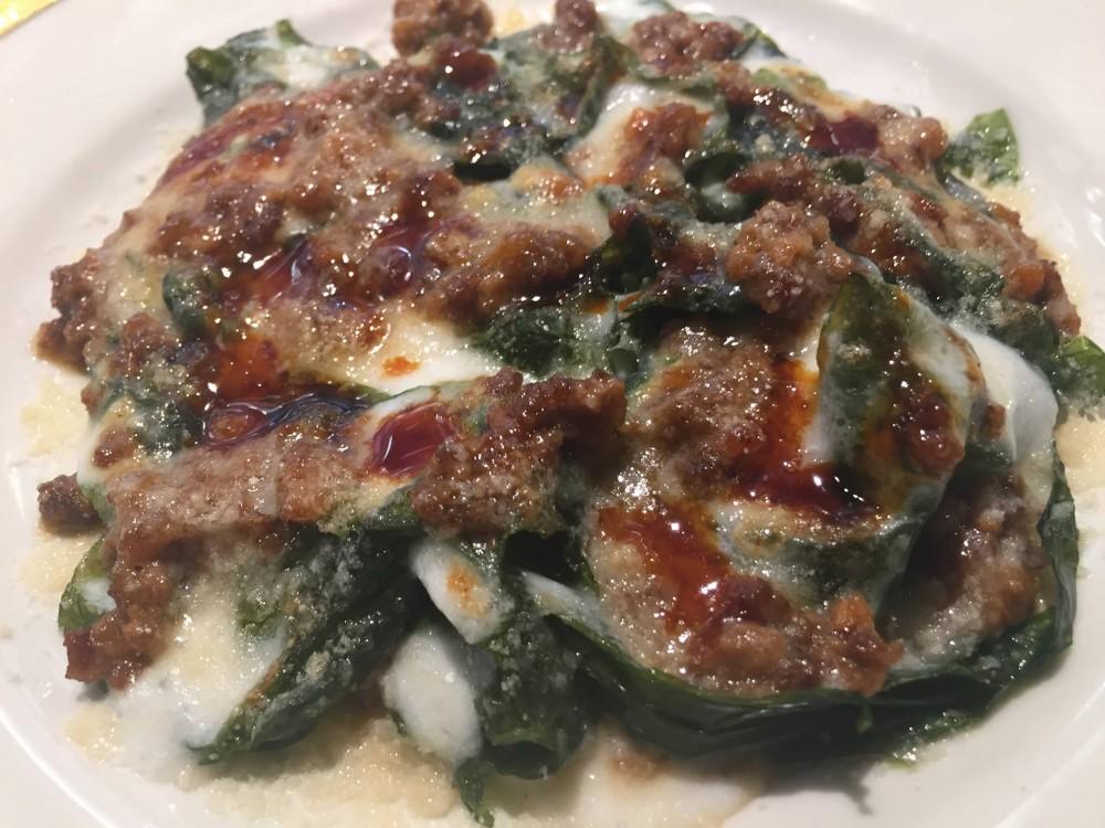 Ristorante Del Cambio a Torino, lasagna con alghe