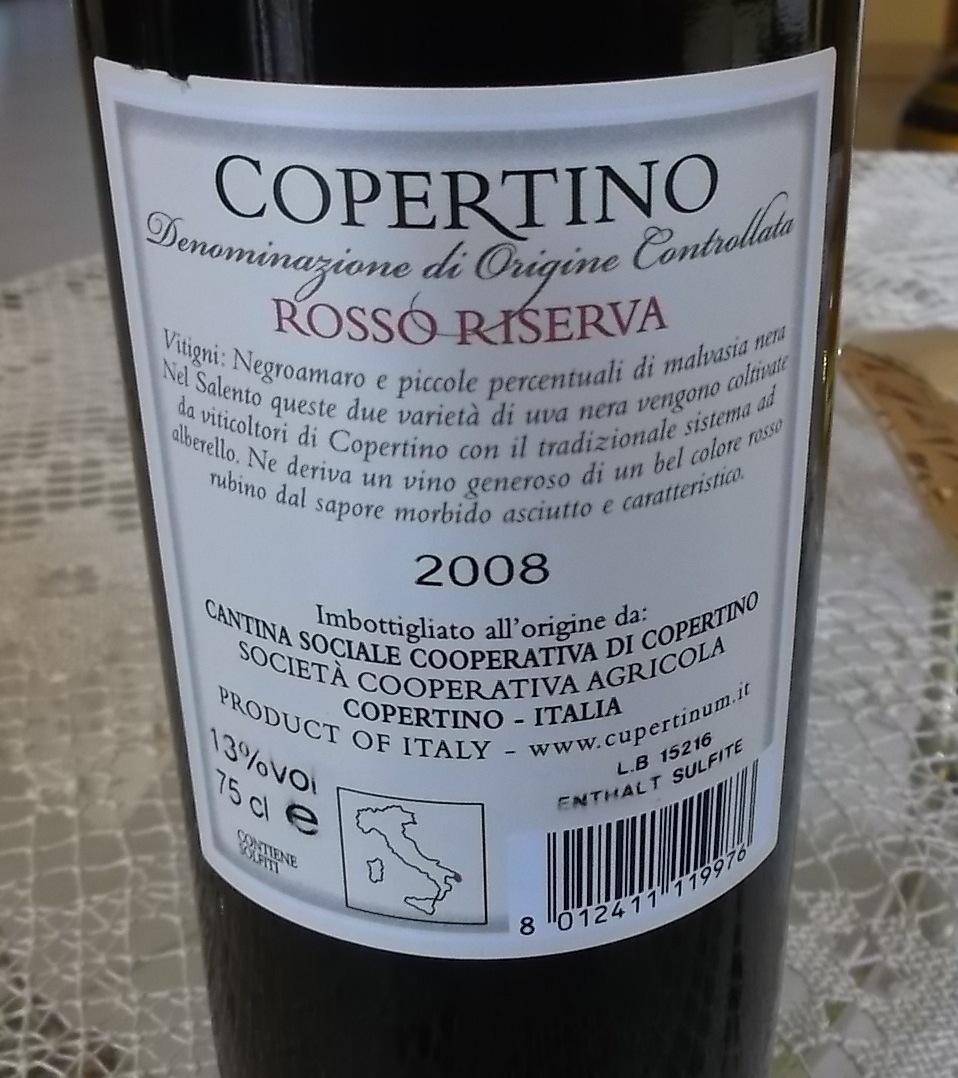 Controetichetta Copertino Rosso Riserva Doc 2008 Cupertinum