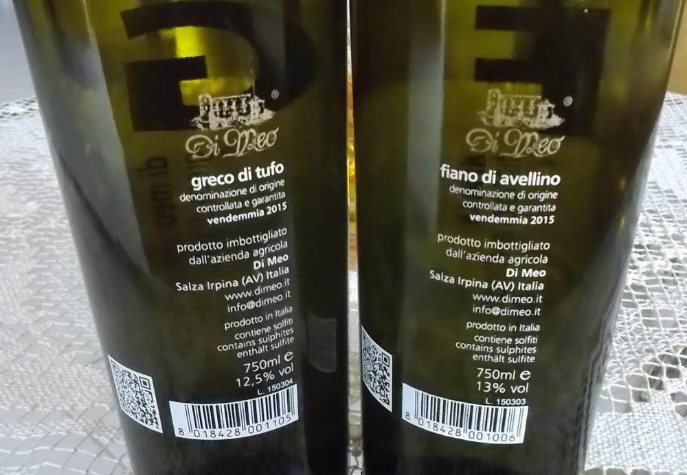 Controetichetta Greco e Fiano dell'azienda Di Meo vincitori a Radici del Sud 2016