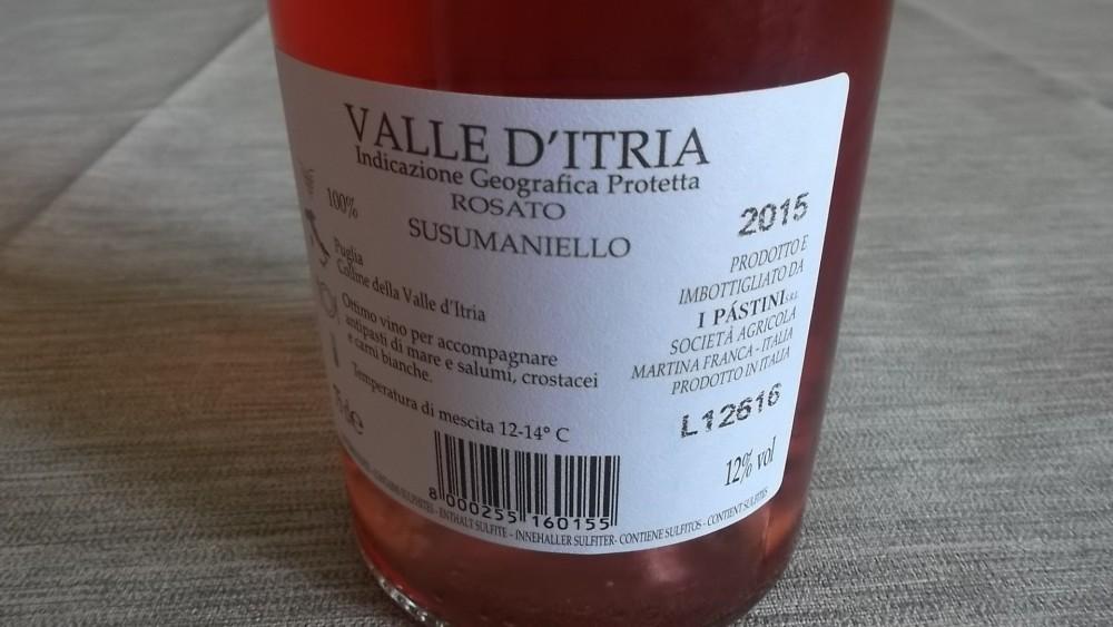 Controetichetta Le Rotaie Susumaniello Rosato Valle d'Itria Igp 2015 I Pastini