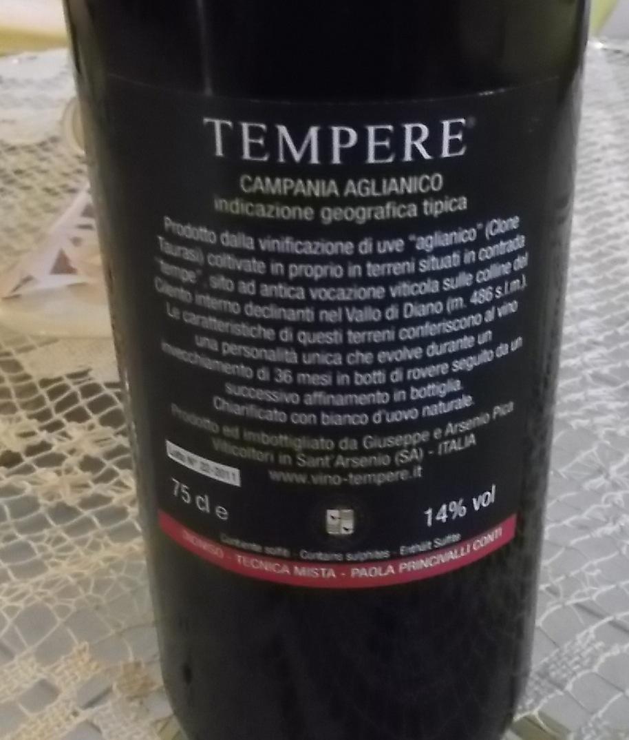 Controetichetta Tempere Campania Aglianico Igt 2011 Azienda Pica