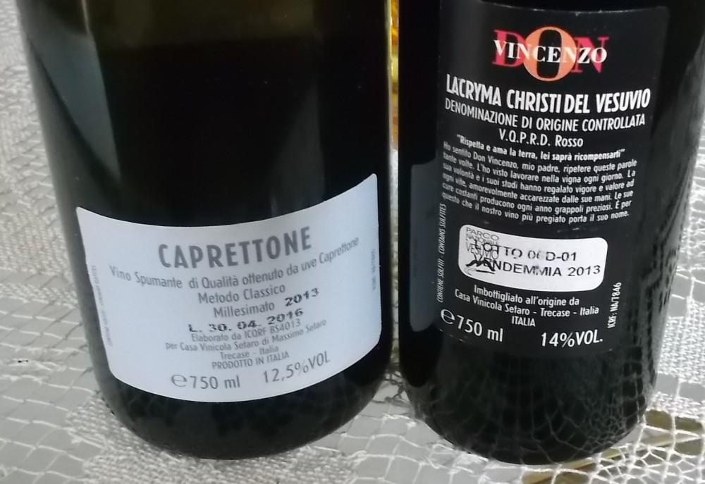 Controetichetta vini di Casa Setaro vincitori a Radici del Sud 2016