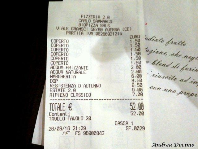 La classifica delle migliori pizzerie della provincia di Caserta. Lo scontrino della Pizzeria 2.0 di Carlo Sammarco ad Aversa