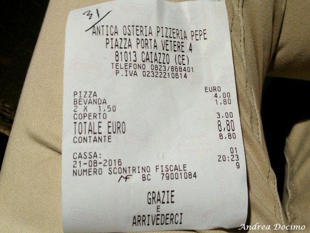La classifica delle migliori pizzerie della provincia di Caserta. Lo scontrino di Antica Osteria Pepe a Caiazzo