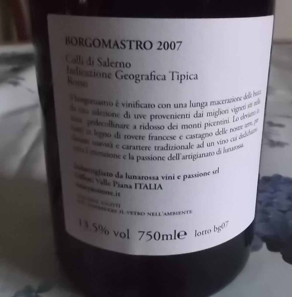 Controetichetta Borgomastro Colli di Salerno Rosso Igt 2007 Lunarossa