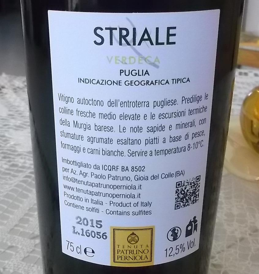 Controetichetta Striale Verdeca Puglia Igt 2015 Tenuta Patruno Perniola