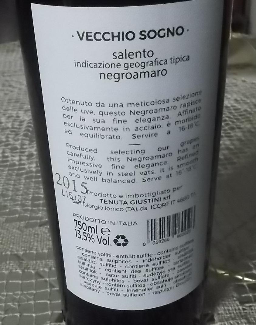 Controetichetta Vecchio Sogno Negroamaro Salento Igt Vincitore a Radici del Sud 2016