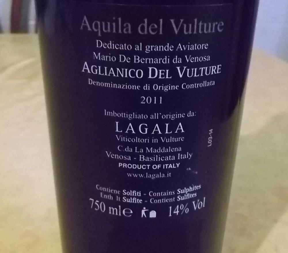 Controetichetta Aquila del Vulture Aglianico del Vulture Doc Lagala