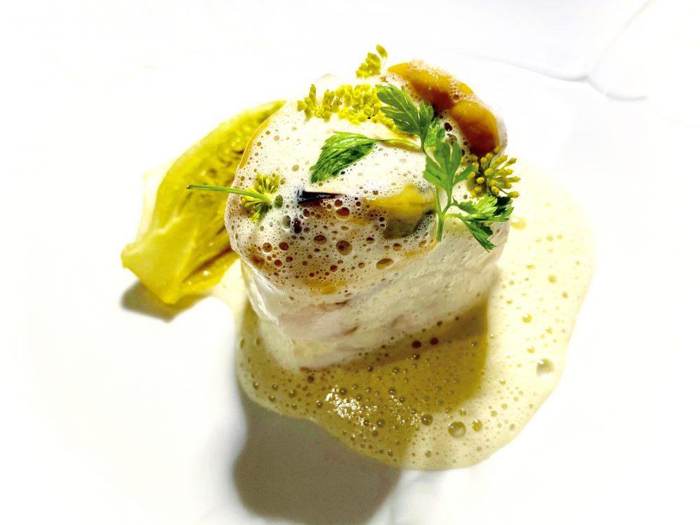 Grand Hotel Quisisana - Il Trancio di Spigola con la sua salsa, cozze ed indivia brasata