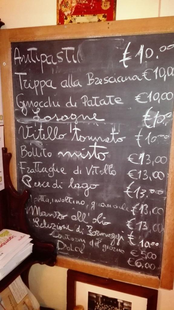 Osteria della Villetta, il menu'