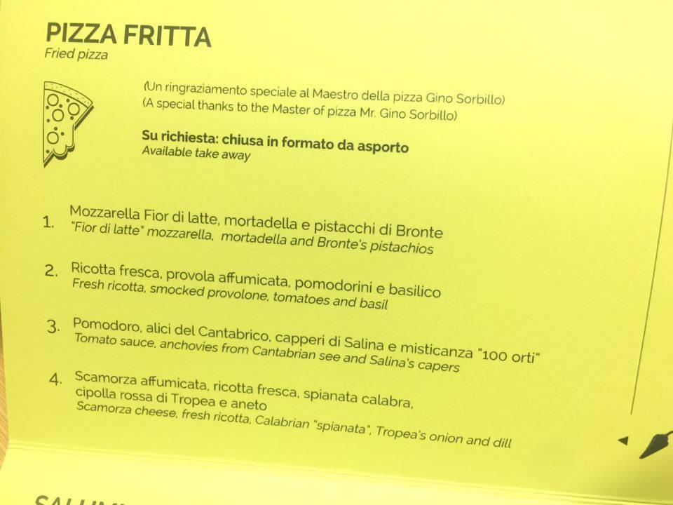 Pizza fritta menu El Coq