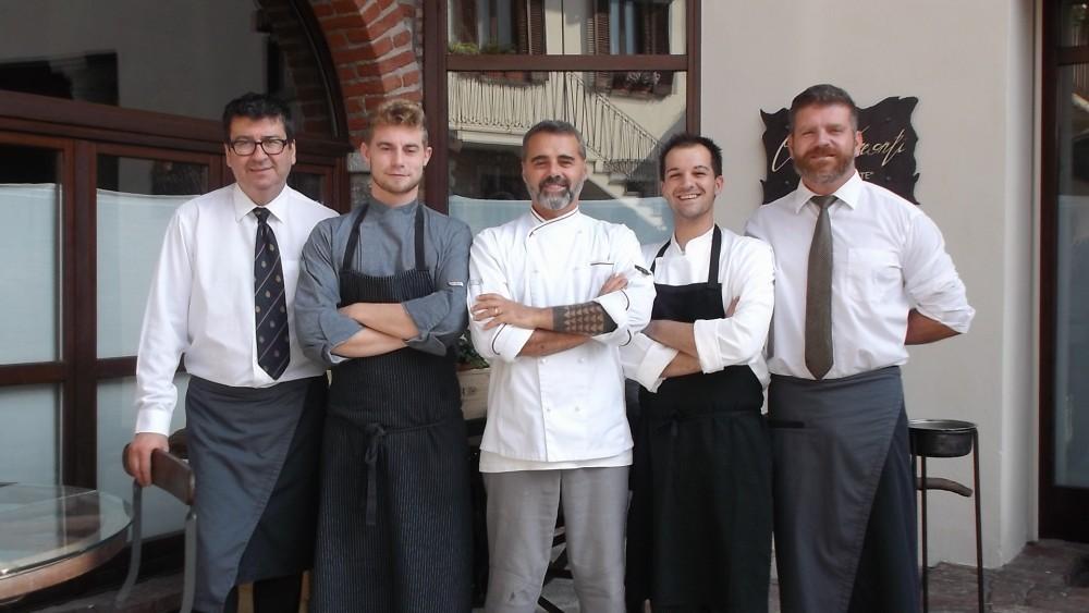 Ristorante Corte Visconti da sx Paolo Zaccaria, Davide Ferrari, Roberto Mainini, Fabio Cova Caiazzo e Alex Nardella