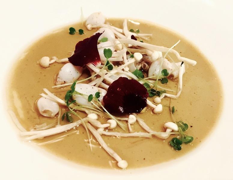 Ristorante Vespasia, Crema di porcini, calamaretti spillo