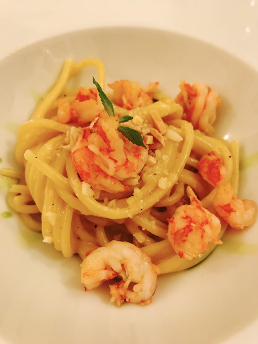 WinChef, Spaghetti 'Felicetti' ajo e ojo, peperoncino, pecorino romano, gambero rossi, limone, menta e scaglie di mandorle