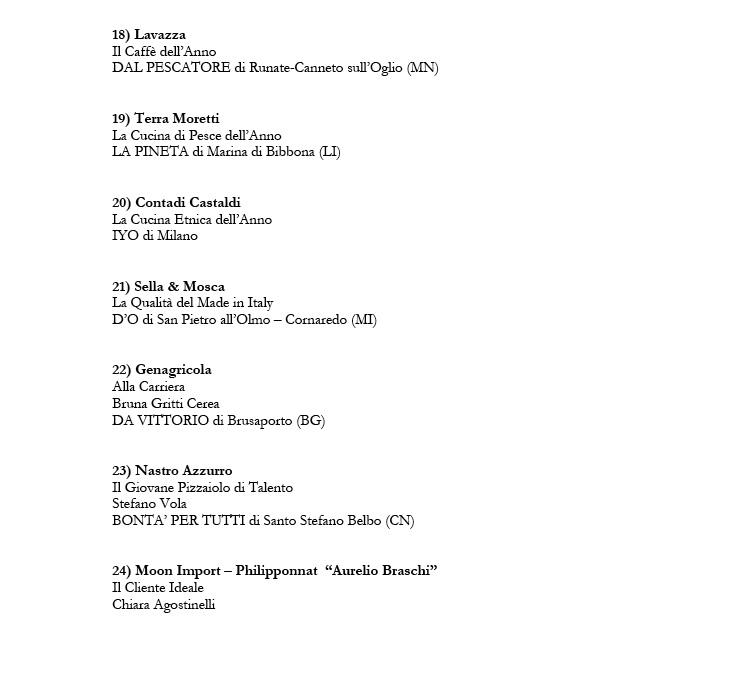 Guida Ristoranti Espresso 2017, tutti i Premi