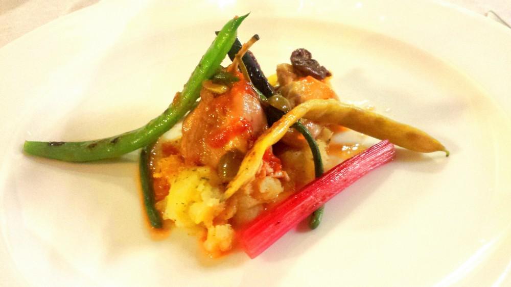 Coniglio, patate e ortaggi. Pesce Briaco