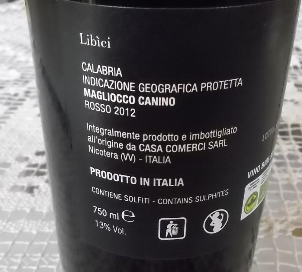 Controetichetta Libici Calabria Igp MaglioccoCanino Rosso 2012 Casa Comerci