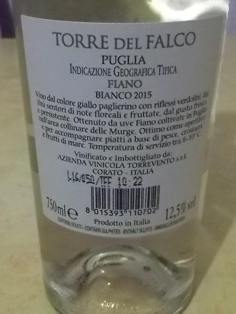 Controetichetta Torre del Falco Fiano Puglia Igt Bianco 2015 Torrevento