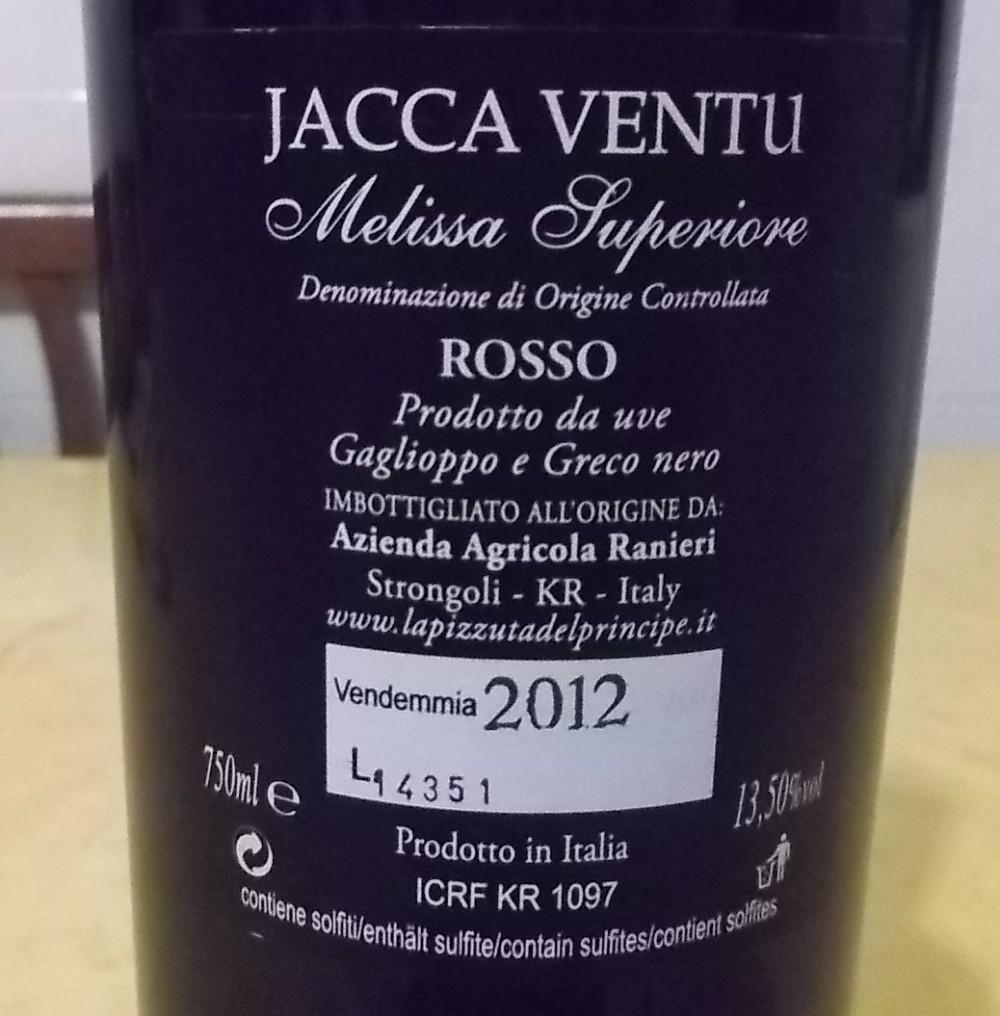 Controetichheta Jacca Ventu Melissa Rosso Superiore Doc 2012 La Pizzuta del Principe