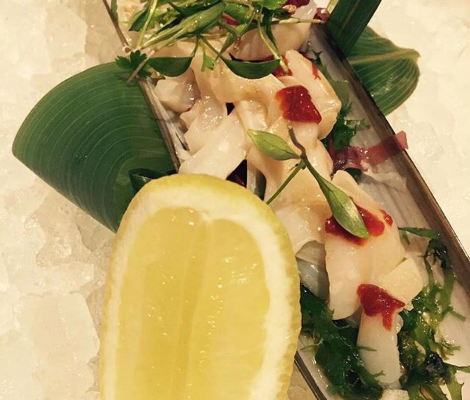Sexy fish, razor clam tiradito, gochujang miso, yuzu lemon and baby coriander
