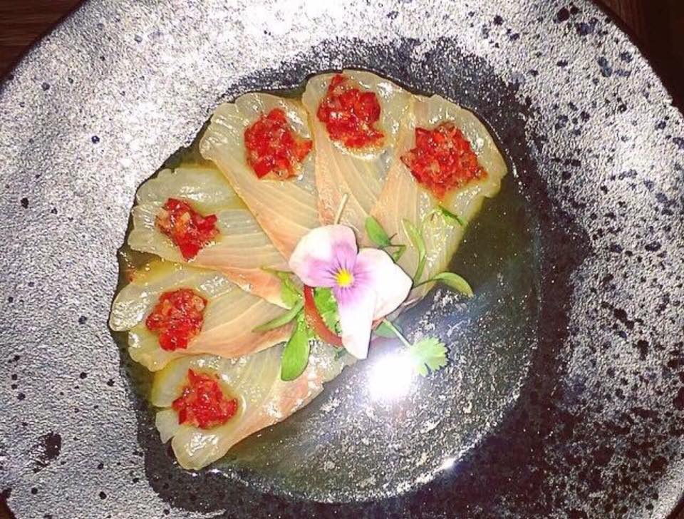 Sexy fish,  yellowtail sashimi, green mandarin ponzu and jalapeno salsa