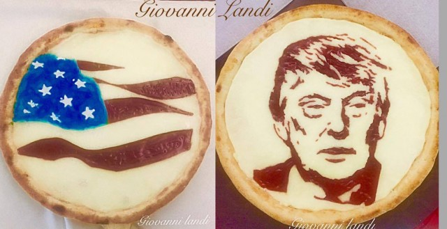 Giovanni Landi la pizza con Donald Trump